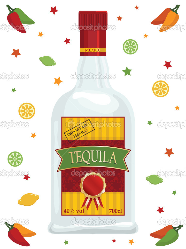 Tequila Bottle Clipart Bottle Of Tequila Isolated On