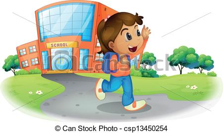 Vector   A Girl Going Home From School   Stock Illustration Royalty