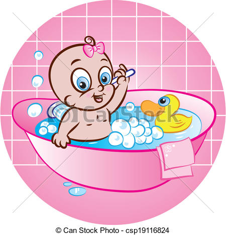 Vector Illustration Of Cute Baby Girl Taking Bath In Tub