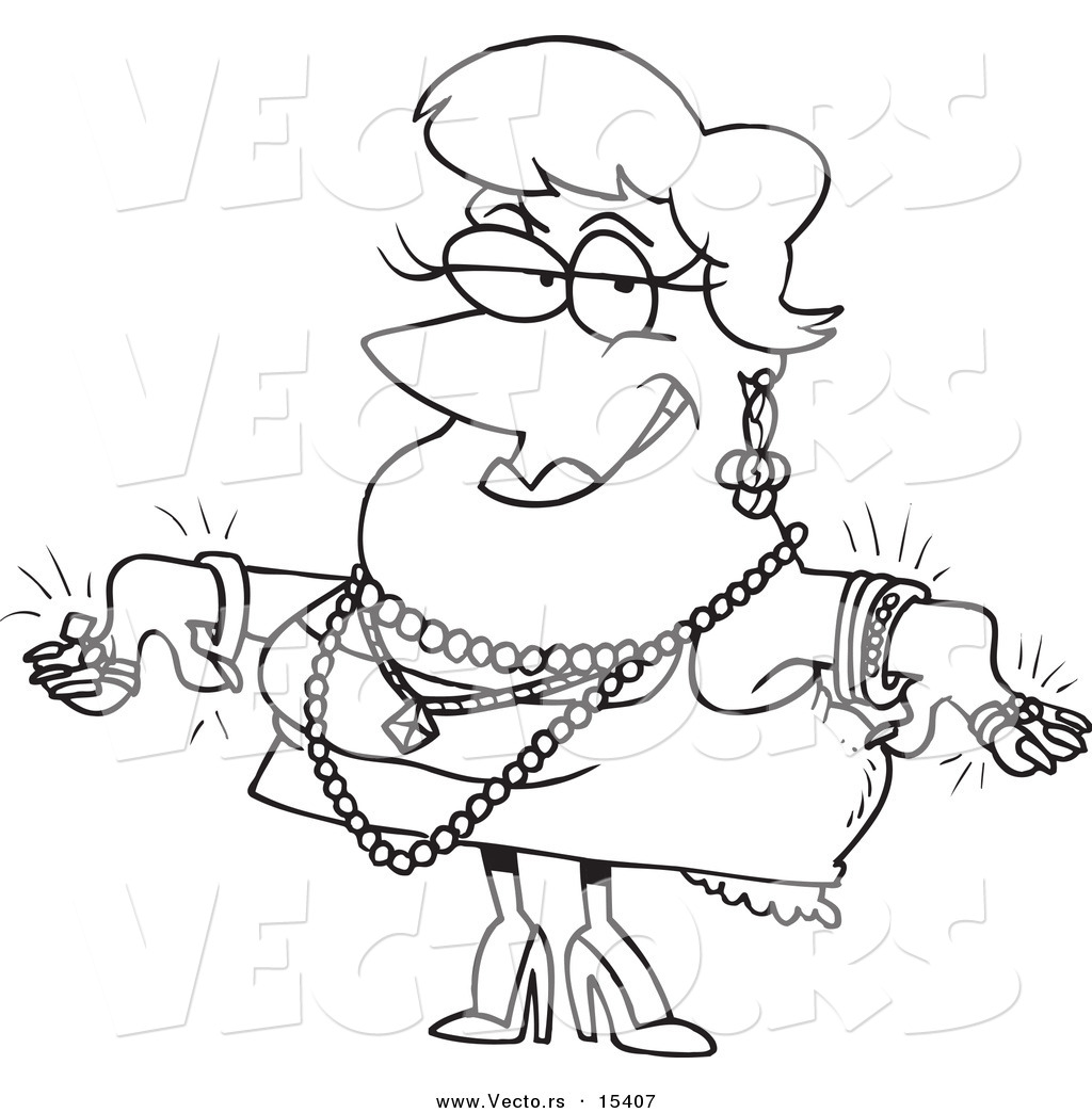 Vector Of A Cartoon Woman Wearing Jewels   Coloring Page Outline By