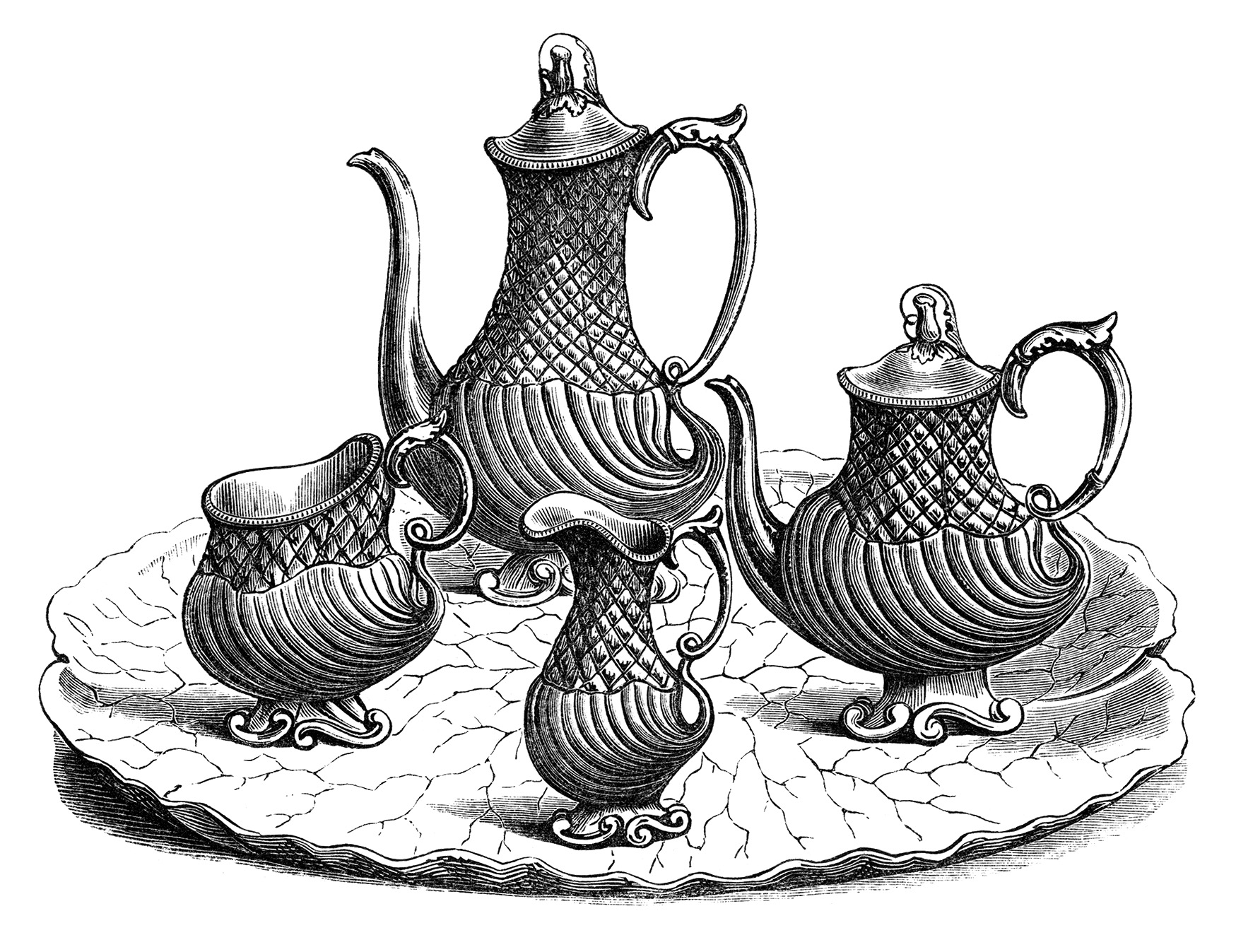 Victorian Tea Set Vintage Kitchen Clip Art Black And White Clipart