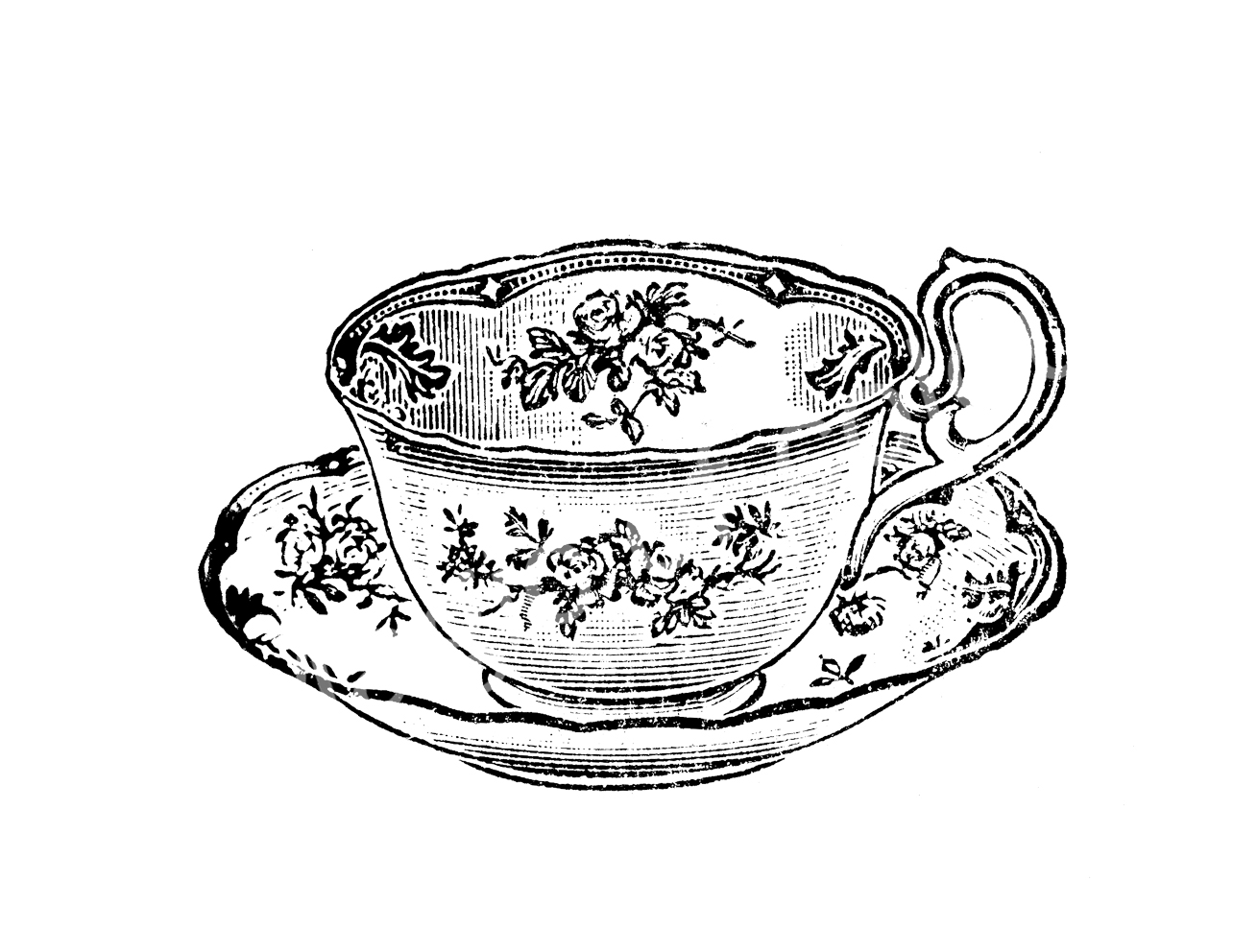 tea cup clipart black and white - photo #26