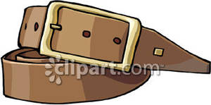Buckle On A Brown Belt   Royalty Free Clipart Picture