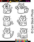 Cats Emotion Set Cartoon Coloring Book   Coloring Book Or