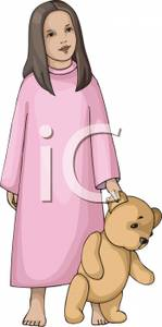 Clip Art Image  A Girl In A Pink Nightgown Holding A Teddy Bear