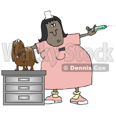 Clipart Illustration Of A Nervous Wiener Dog On A Table Looking At A
