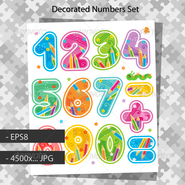Decorated Numbers And Arithmetic Signs   Decorative Symbols Decorative