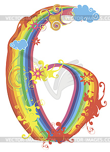 Decorative Rainbow Number   Vector Image