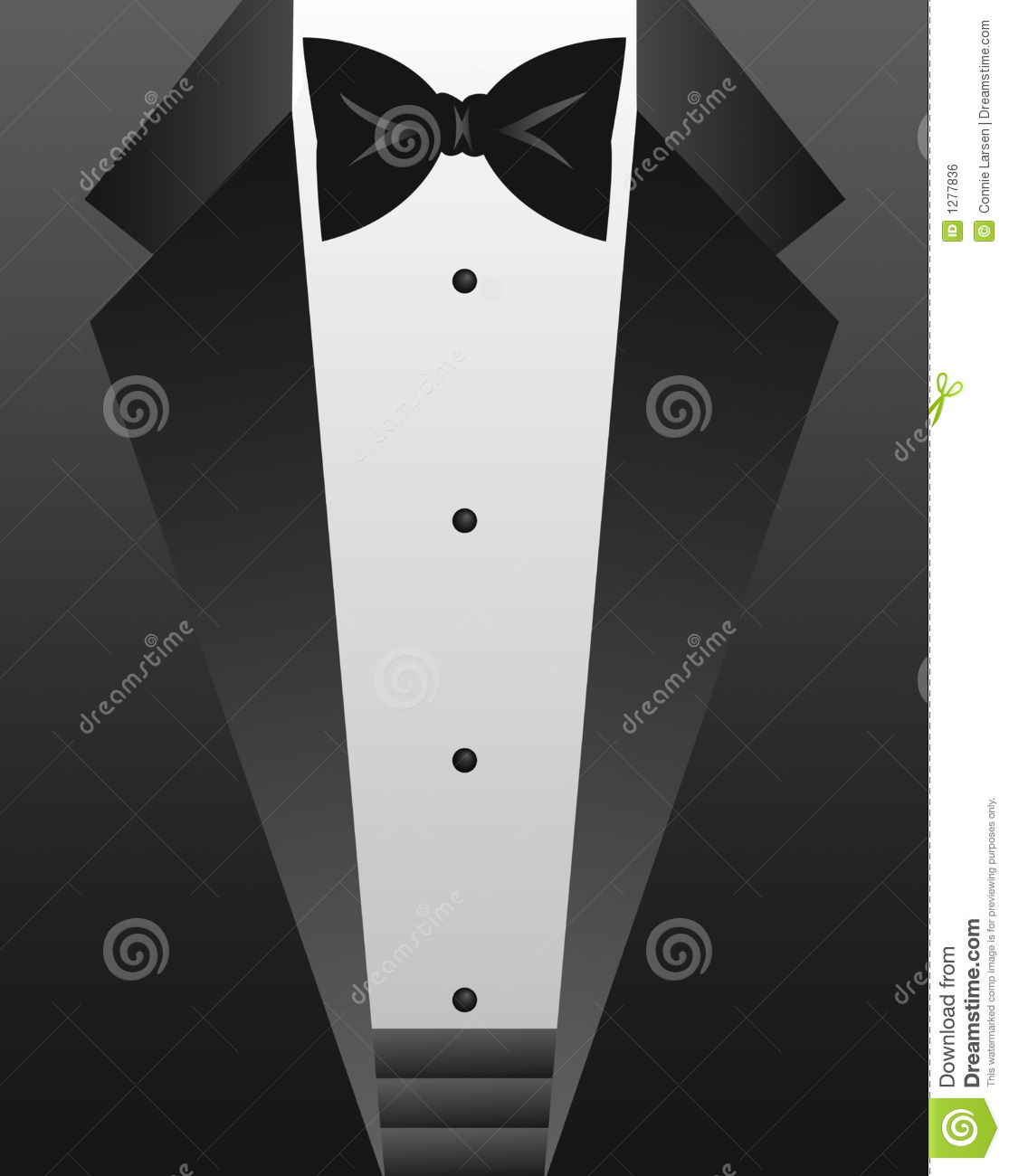 Formal Attire Black Bow Tie And Tuxedo Jacket   Eps File Available