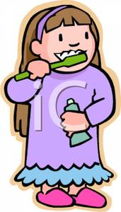 Girl Brushing Her Teeth In A Nightgown   Royalty Free Clipart Picture
