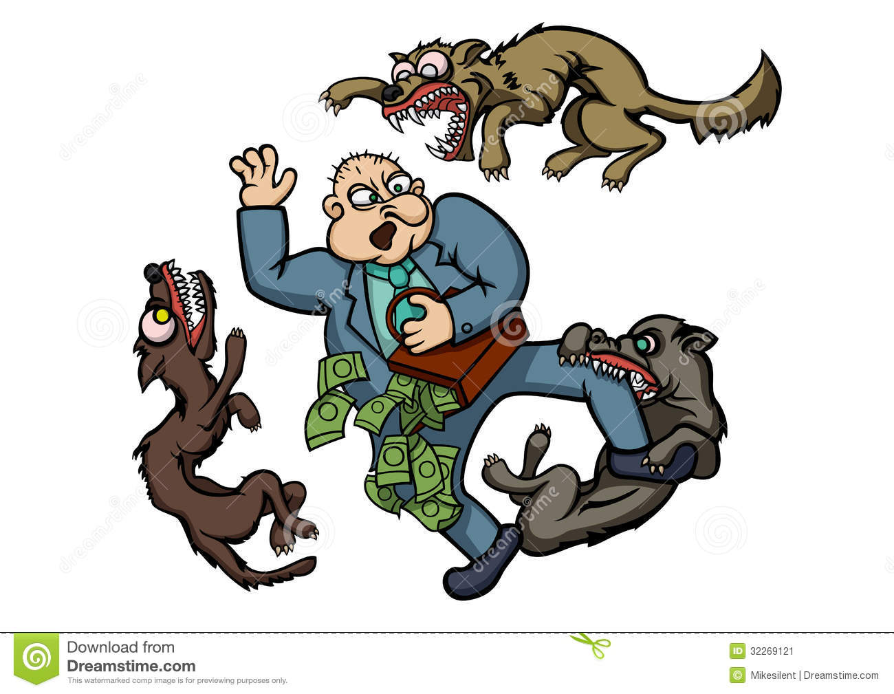 Greedy Man With Money Running Away From Three Evil Dogs  Vector