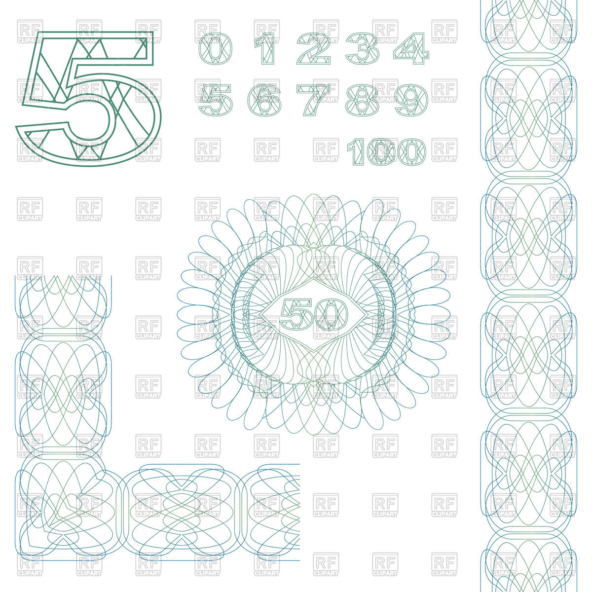 Guilloche Decorative Elements And Numbers For Certificate Or Diploma