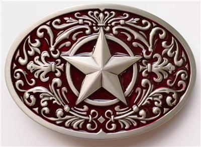 New Western Star Scroll Red Cowboy Texas Belt Buckle