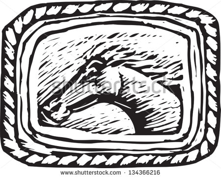 Vector Illustration Of Western Belt Buckle With Horse   Stock Vector