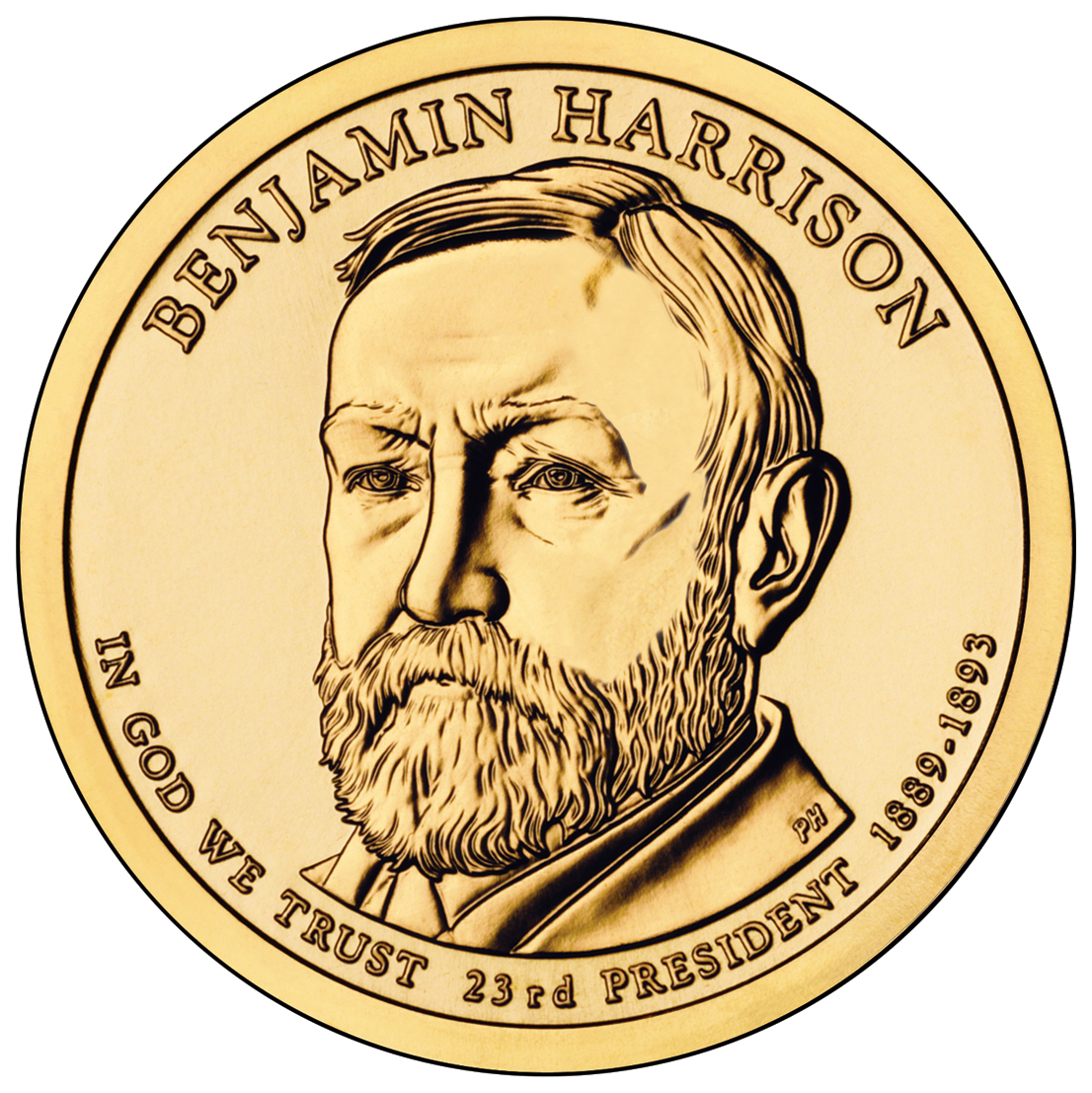 Banjamin Harrison Presidential  1 Coin  Obverse   Us Mint Image