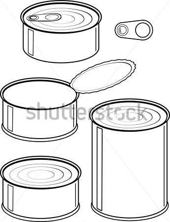 Canned Food   Isolated Illustration Black Contour On White Background
