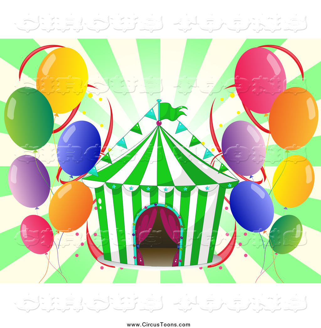 Circus Clipart Of A Big Top Tent And Balloons Over Green Rays By