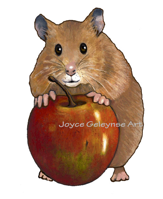 Clip Art  Freehand Drawing Cute Hamster With Apple Instant Download