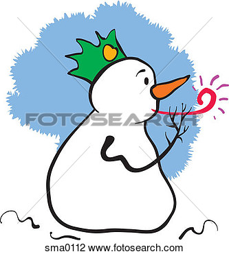 Clip Art Of A Snowman Wearing A Hat And Blowing A Noise Maker Sma0112