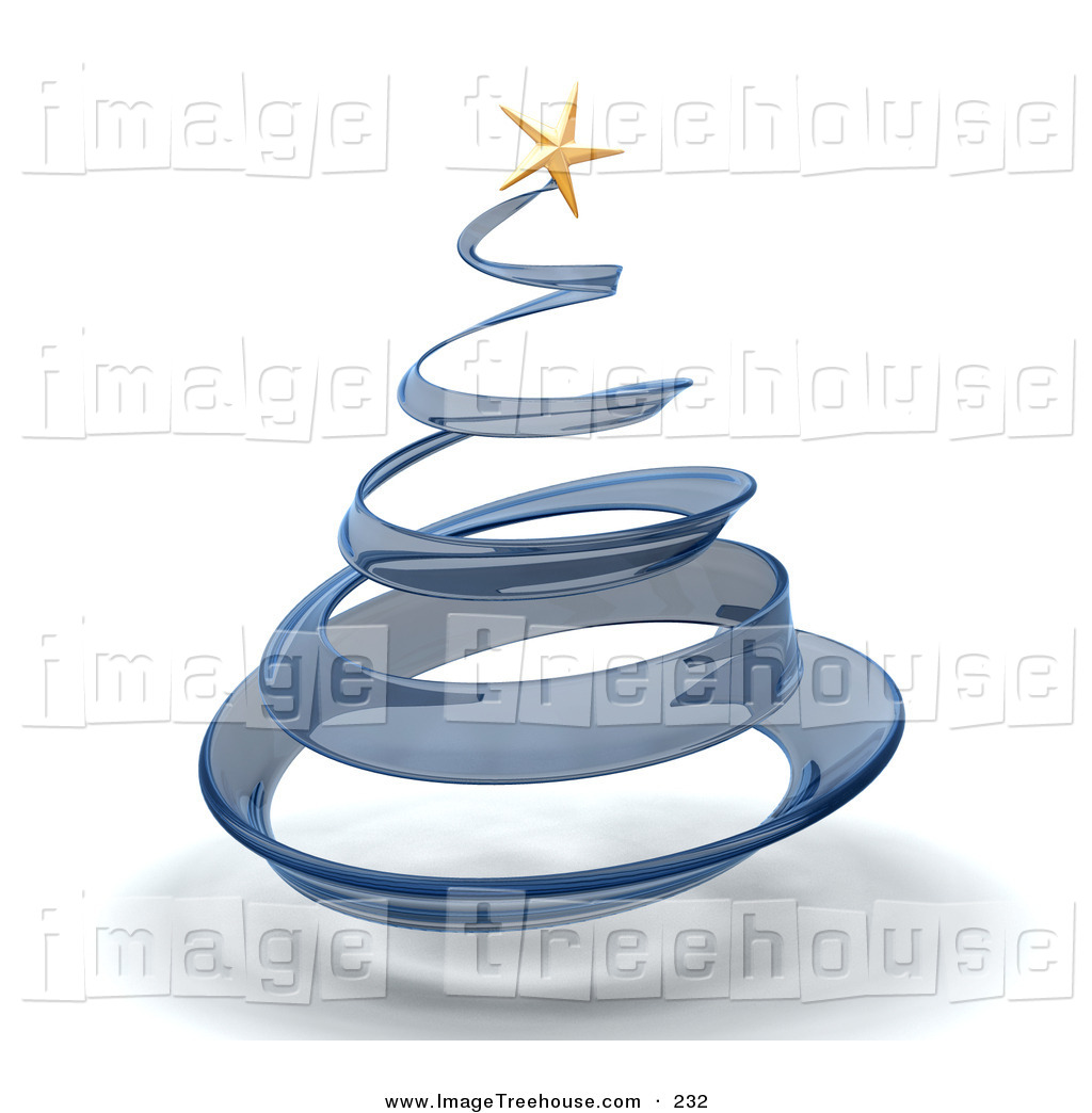 Glass Spiraling Christmas Tree With A Gold Star On Top Over White
