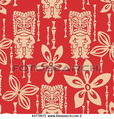 Illustration Of A Seamless Tiki Pattern Tile  Tile Can Be Dragged And