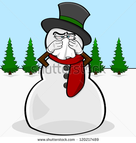 Illustration Showing A Snowman Blowing His Nose With A Handkerchief