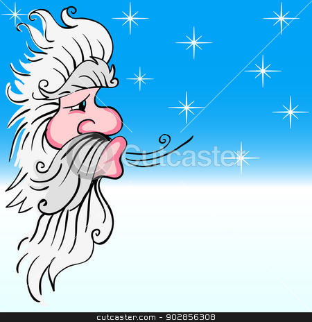 Santa Claus Blowing Wind Stock Vector Clipart Santa Claus Blowing