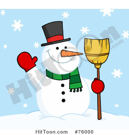 Snowman Clipart Friendly Holding Broom And Waving