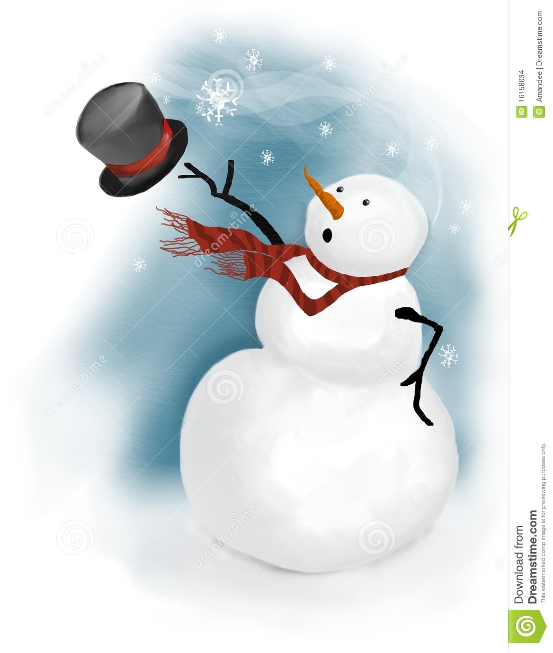 Snowman Loses His Top Hat In Wind Gust Stock Images   Image  16158034