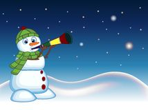Snowman Wearing A Green Head Cover And A Scarf Blowing Horns With Star