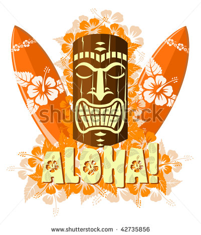 Vector Illustration Of Orange Tiki Mask With Surf Boards And Hand