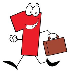 Briefcase Clipart Image  Red Cartoon Number 1 Smiling And Walking With