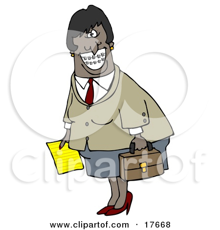 Businesswoman With Braces Smiling And Carrying Letter Briefcase