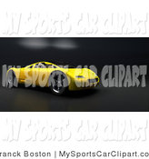 Clip Art Of A Sleek Yellow Audi Sports Car Facing Right On A Carbon