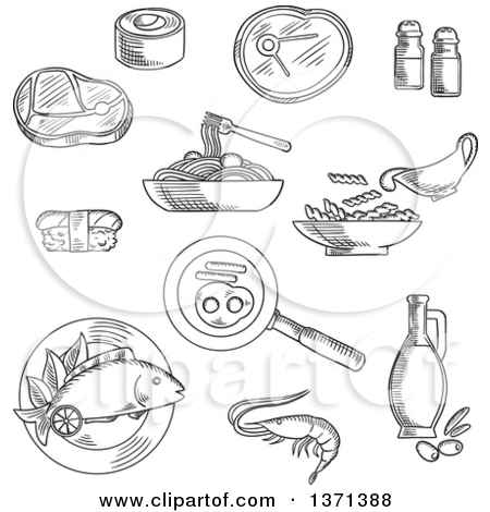 Clipart Of Black And White Sketched Sushi Roll And Nigiri Pasta And