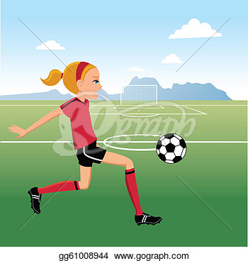 Girl Teen Girl Playing Soccer In The Soccer Field Clipart Drawing