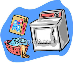 Laundry And Washing Machine   Royalty Free Clipart Picture