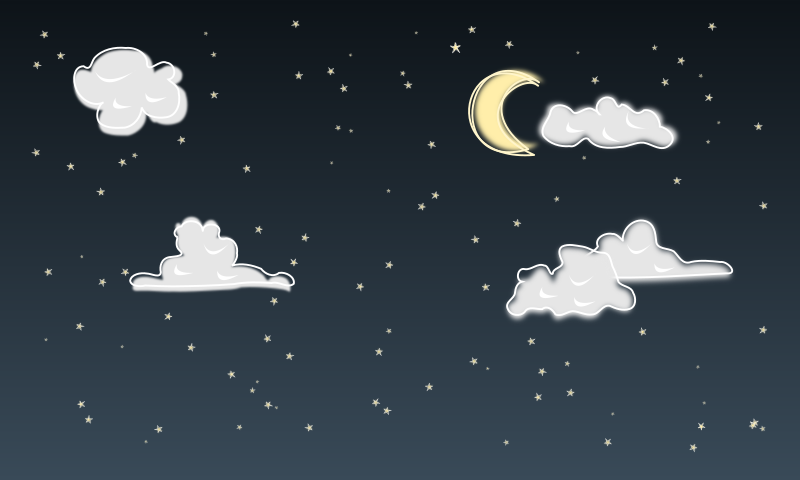 Night Sky By Yekcim   A Night Sky With Stars A Moon And Clouds