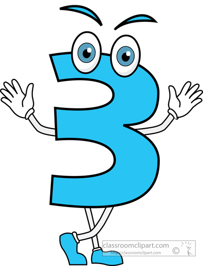 Numbers   Number Three Cartoon   Classroom Clipart