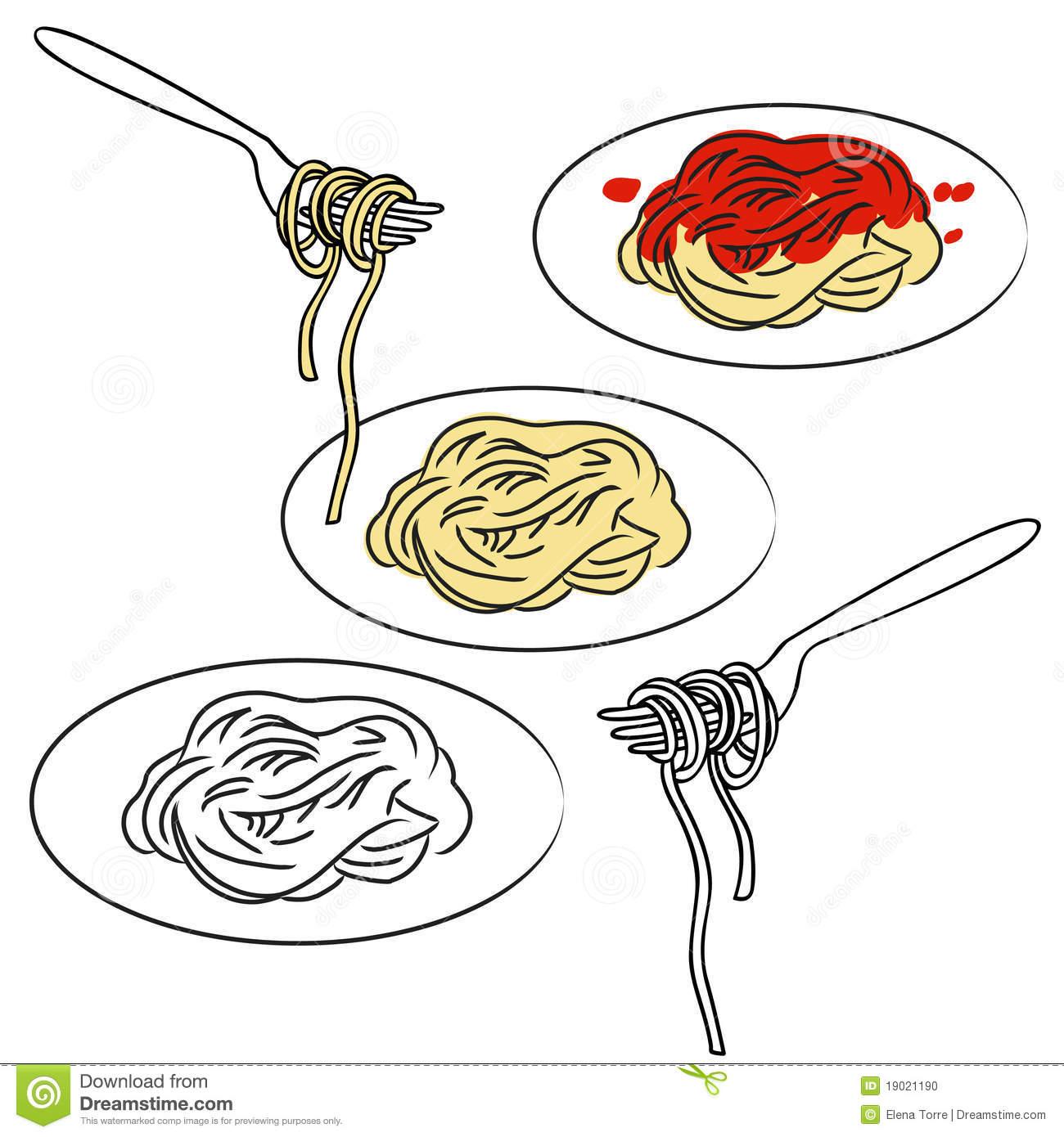 Spaghetti on a Fork Clip Art  Spaghetti on a Fork Image