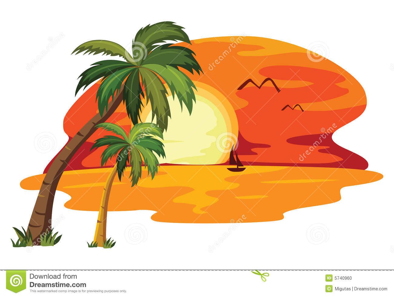 Paradise Sunset Clipart - Clipart Kid