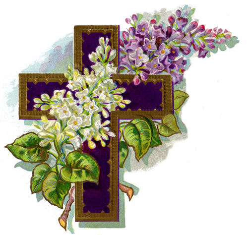 Vintage Lilac And Cross Easter Card