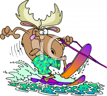 0511 1003 2119 3934 A Moose Water Skiing Clipart Image Jpg
