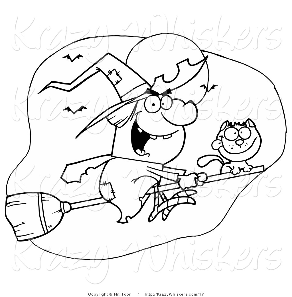 And Witch Halloween Coloring Page Animal Clip Art Hit Toon