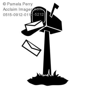 Art Illustration Of A Black And White Mailbox With Falling Letters