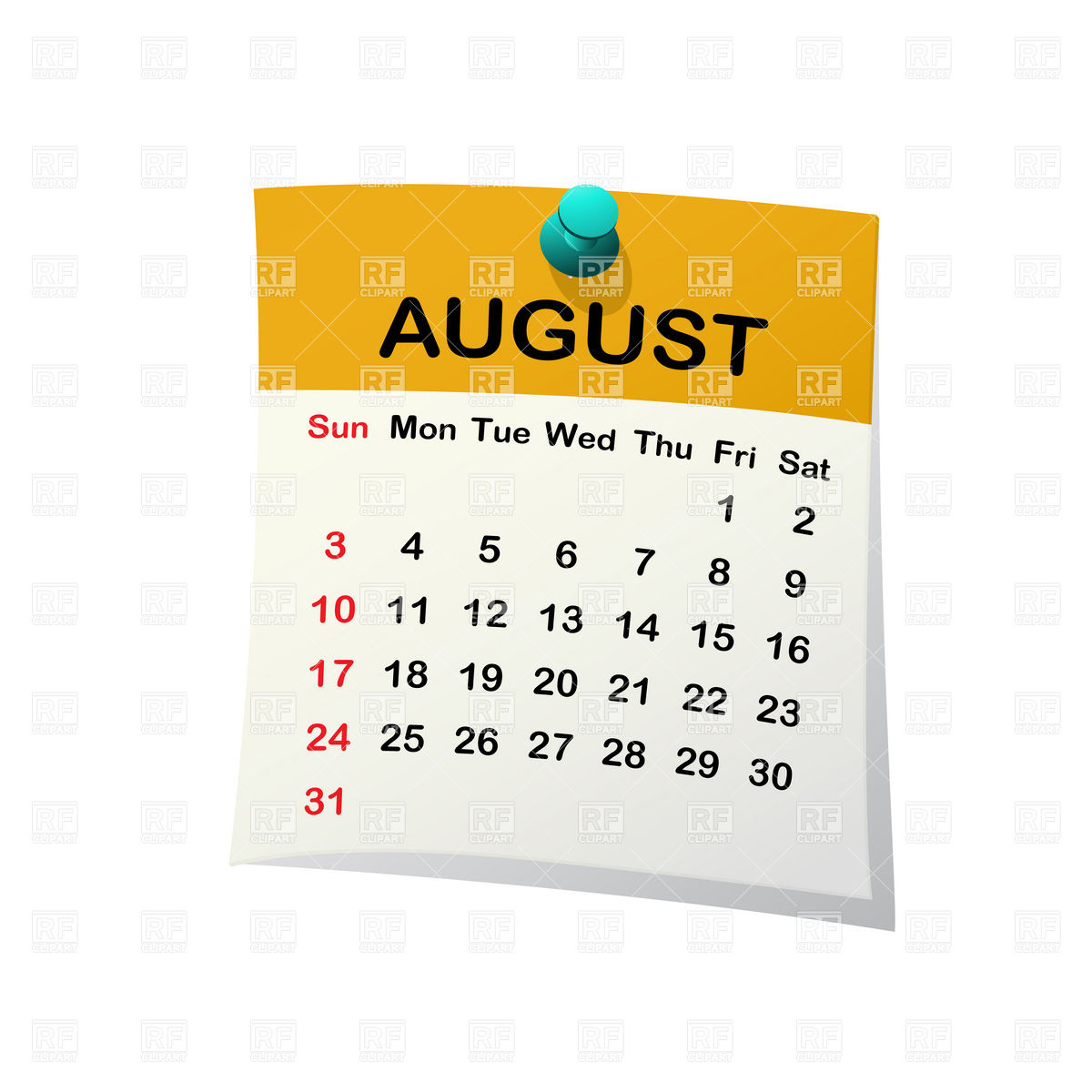 Monthly Calendar Clipart : August calendar clipart suggest