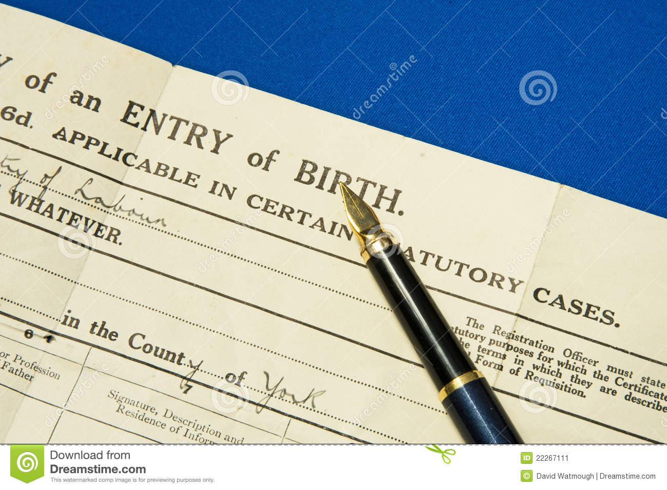 Birth Certificate  Stock Image   Image  22267111