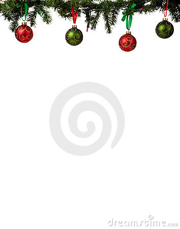 Christmas Ornament Border With Red And Green Glittered Baubles