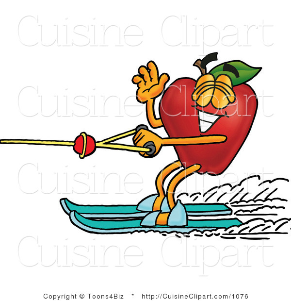 Clipart Of A Red Apple Character Mascot Waving And Water Skiing