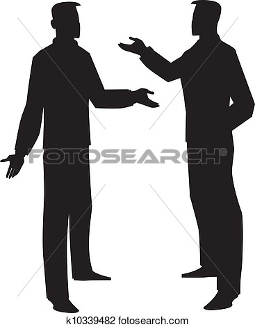 Clipart   Silhouette Of Two Men Talking Illustration  Fotosearch